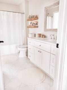 Girl's Bathroom Refresh, neutral bathroom decor with soft pink, whites, and pink. Girls Bathroom Design, Neutral Bathroom, Bathroom Wall Decor, Girls Bathroom, Girl Bathrooms, Small Bathroom Decor, Girl Bathroom Decor, Neutral Bathroom Decor, Bathroom Decor