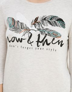 BSK feather print top - T- Shirts - Bershka United Kingdom
