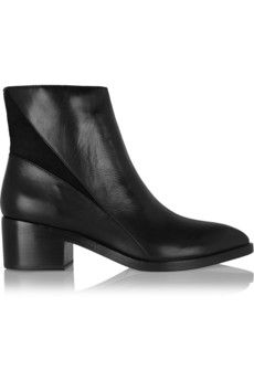 Sigerson Morrison Scarlett suede-paneled leather ankle boots | NET-A-PORTER
