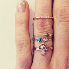 skinny stacked rings.