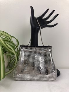 Vintage Silver Small Evening Event Purse She Was Beautiful, Vintage Purses, Silver Beads, Vintage Silver, Bucket Bag, Chain, Trending Outfits, Unique Jewelry, Handmade Gifts