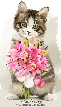 Nurcan Kacira - Cats and Dogs House I Love Cats, Cute Cats, Animals And Pets, Cute Animals, Gatos Cats, Cat Cards, Vintage Cat, Cat Drawing, Cats And Kittens