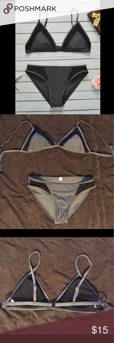 ✨NWOT✨Black & Grey Bikini Set ✨NWOT✨ Got a small thinking it would fit, and it does not. The top is 35 inches around, and has some stretch to it. The straps are adjustable. Swim Bikinis