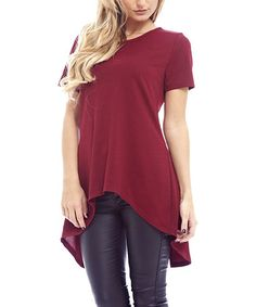Take a look at this Wine Split-Back Hi-Low Top on zulily today!