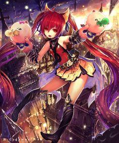 ベビーケルベロス (レジェンド) GENESIS 9 Shingeki no Bahamut by Tachikawa Mushimaro ブリンディ (レジェンド) boots dress gloves happy jewelry long hair moon musical instrument night red eyes red hair sky