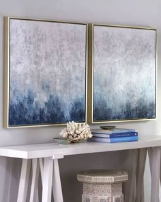 """Style Your Home Today With This Amazing """"Frost on Sapphire"""" 2 Piece Set Framed Original Paintings For $1255.80  Discover more canvas selection here http://www.octotreasures.com  If you want to create a customized canvas by printing your own pictures or photos, please contact us."""