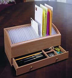 Natural Wood Space Saver Letter and Bill Organizer with Compartments Drawer and…