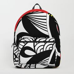 # black # red # white and yellow D Craft, One Size Fits All, Red And White, Backpacks, Unisex, Shoulder Straps, Fabric, Pattern, Lord