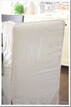 Monogrammed Linen Chair Cover Featured On Todays Creative Blog