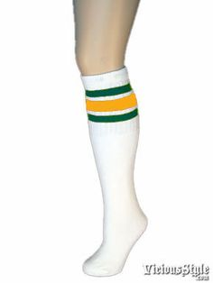 5f4379524 Old school skater socks with green and gold stripes. Find all your retro  tube socks