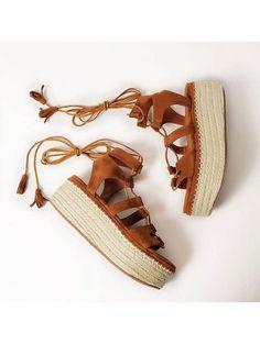 Brown Lace Up Espadrille Flatform Sandals With Tassel