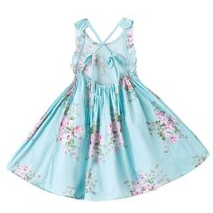 """Item specifics Brand Name: whosebaby Department Name: Children Gender: Girls Collar: O-neck Built-in Bra: No Style: """"European and American Style Model Number: D9167 Sleeve Style: Regular Decoration: Flowers Material: Cotton Dresses Length: Knee-Length Sleeve Length(cm): Sleeveless Fit: Fits larger than usual. Please check this store's sizing info Pattern Type: Print Silhouette: A-Line Color: Blue,Pink,Yellow,Beige Season: Summer Girls Dresses 2018 Vestido Infantil: Floral Girls Dresses Age…"""