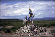 Native Siberian Tuvan outdoor Altar mound.