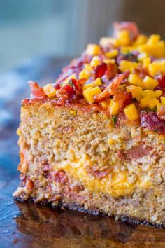 """""""Bacon Cheeseburger Meatloaf topped and stuffed with cheddar cheese and bacon is the ultimate meatloaf. Makes amazing sandwiches too. Bacon Cheeseburger Meatloaf is one of the first recipes I made for my now husband when we moved in together. Healthy Meatloaf, Meatloaf Recipes, Pork Recipes, Mcdonalds Recipes, Crockpot Recipes, Keto Recipes, Stove Top Stuffing Meatloaf, Meatloaf Topping"""