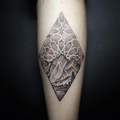 double diamond mountain tattoo. Mountain scene by @johno_tattooer.