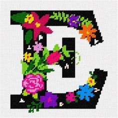 Needlepoint Kit or Canvas: Letter E Primary Floral Needlepoint Designs, Needlepoint Kits, Needlepoint Canvases, Needlepoint Stitches, Cross Stitch Alphabet, Cross Stitch Patterns, Embroidery Alphabet, Canvas Letters, Letter E