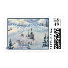 MERRY CHRISTMAS SNOW SCENE by SHARON SHARPE Postage