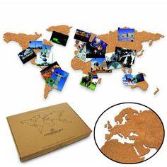 Eine tolle Geschenkidee für alle Rastlosen, die ständig Fernweh haben: Die Reise Weltkarte aus Kork dient als Pinnwand und Reisekarte. via: www.monsterzeug.de
