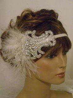 1920's Bridal Headpiece, Flapper Headband, Bride, Ivory, Vintage, Rhinestones, Crystals, Feathers, Old Hollywood (Style 1919). $74.00, via Etsy.