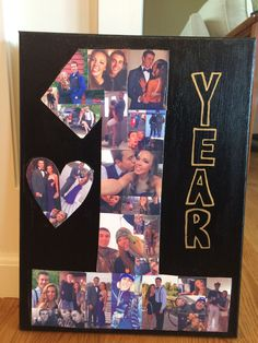 My daughter made this for her boyfriend for their 1 year of dating using canvas, paint and Modge podge.  Turned out cute!