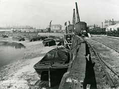 View northwards along Canning Town Wharf, Bow Creek. Vintage London, Old London, London City, Old Pictures, Old Photos, London Docklands, London Boroughs, East End London, London History