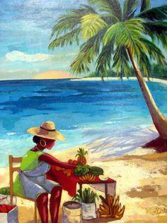 MARCHANDE DE LA PLAGE - Painting,  65x73 cm ©2008 par Cathy Belleville -  Peinture, Huile