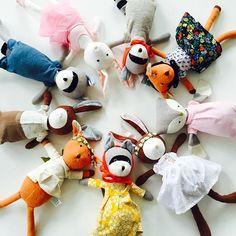 colorful and soft #toys #softtoy #hazelvillage #organic #woodland #friends #stuffedanimal #kids #babygift #kidsroomdecor #fawn #raccoon #rabbit #owl #nurserydecor #monogram #littlelovedones #kraamcadeau