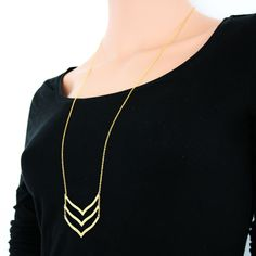 Gold plated long triple chevron bar brass necklace with tiny chain vintage curved pendants. $19.00, via Etsy.