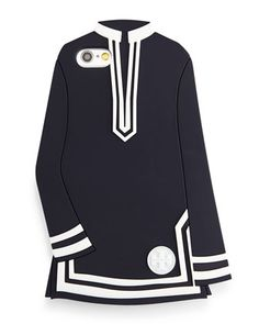 Silicone Tunic iPhone Case, Navy/White by Tory Burch at Neiman Marcus.