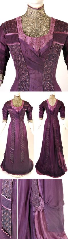 Dinner gown, J. Franken, Brooklyn, ca. 1912. Purple silk satin & chiffon, one piece. Pleating at waistline. Overdress of purple silk chiffon attached at princess seams & shoulders. Yoke in antique gold & white net lace w/standup collar, which has lace w/embroidered purple chenille & is edged in silk ribbon & white chiffon. Purple silk crewel embroidery on front & back bodice. Purple lace panels fall from shoulders in front & end in dangle ball fringe. Vintage Martini