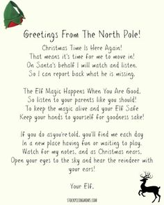 Newest Pics Elf on the Shelf Ideas for Arrival: 10 Free Printables Popular Elf On A Shelf Welcome Letter Printable – Stockpiling Moms Elf On Shelf Letter, Elf On The Shelf, Elf Letters, Shelf Elf, Free Letters From Santa, Welcome Back Letter, Welcome Letters, Christmas Time Is Here, Christmas Elf