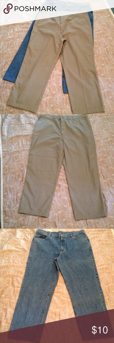 🍂🍁Men's khaki pants and jeans🍂😊 Bundle of men's pants. Haggar casuals khaki pants. 100% cotton. Good condition. Altered to 29 inch inseam. Lee jeans are in good condition. Altered to 29 inch inseam. Pants