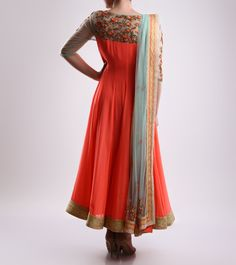 Mohini Goyal Beige & Pink Embroidered Silk & Georgette Anarkali Suit - BACK Click on the photo to shop!