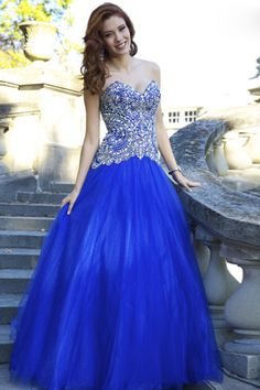 2014 Amazing Prom Dress Rhinestone Beaded Bodice Floor Length Tulle Skirt for sale