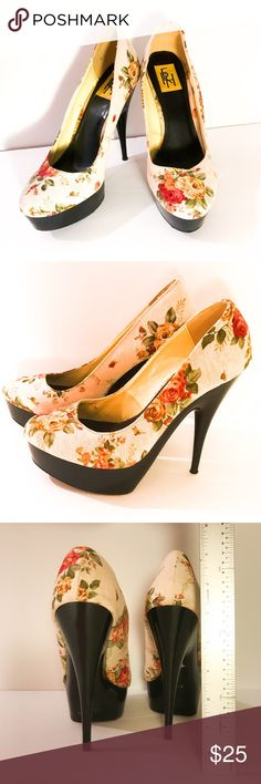 """Floral Canvas Heels Details: Floral Canvas Fabric Heels, size 10, 3.5"""" heel, high quality all man made materials, black Platform Heels, brand RFH Heels. Good condition, only worn a couple of times. Original price $79. Bundle deal: buy 2 or more items from my closet & save 15% RFH Shoes Heels"""