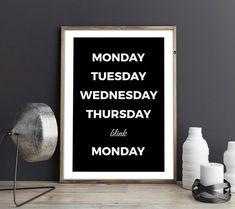 Weekend Print, Days of Week Print, Funny Weekend Print, Funny Office Decor, Funny Wall Art, Funny Be Funny Weekend, Weekend Humor, Funny Office, Office Humor, Winning Meme, Funny Wall Art, Days Of Week, Dorm Decorations, Letter Board