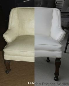 Restore a Leather Chair - Before and After, The Project Addict featured on Remodelaholic.com -- just one simple product makes it look like new! #beforeandafter #leather