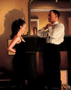Between Darkness and Dawn - Painting by Jack Vettriano
