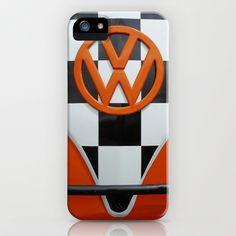 VW Checkers iPhone & iPod Case by Alice Gosling - $35.00 #VW #Volkswagen #CamperVan #VWBus #Orange #BlackandWhite #Checkers #Chequers #Classic #Vintage #Retro #iphonecase #iphonecover #phonecover
