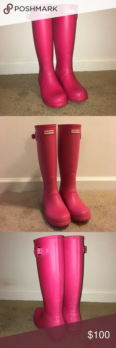 Hunter Original Tall Rain Boots- Size 6 Hunter Original Tall Rain Boots- Size 6 • Matte Bright Pink • picture posted with and without flash Hunter Shoes Winter & Rain Boots