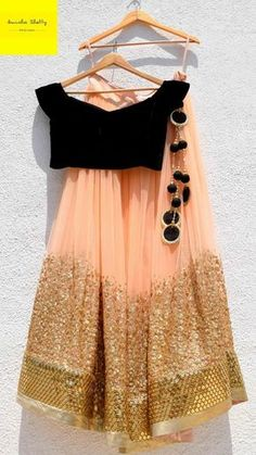 Indian fashion has changed with each passing era. The Indian fashion industry is rising by leaps and bounds, and every month one witnesses some new trend o Black Lehenga, Indian Lehenga, Indian Gowns, Indian Attire, Pakistani Dresses, Indian Wear, Pink Lehenga, Pakistani Bridal, Indian Wedding Outfits