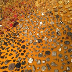 Discovered @lukeaaronboston justifiably entranced by display of buttons at #toddoldham exhibition this afternoon. #rhodeislandschoolofdesign