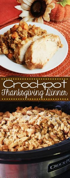 Crockpot Thanksgiving Dinner - Boneless turkey breast slow cooks with sweet potatoes, carrots, celery and cornbread stuffing. The perfect, EASY way to enjoy Thanksgiving dinner with your family!