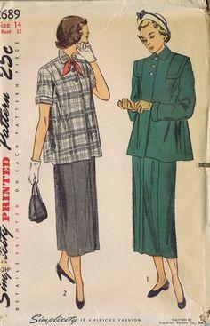 Vintage Maternity Suit 1940s Sewing Pattern 2689 Simplicity Bust 32 Hip 35 Uncut | eBay
