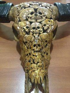 Beautiful Rean Hand Carved Skulls Buffalo Skull Taxidermy Home Art Decor.oohhhh my gosh that is amazing work! Deer Skull Art, Deer Skulls, Skull Decor, Cow Skull, Animal Skulls, Art Decor, Carved Skulls, Bull Skulls, Hand Carved