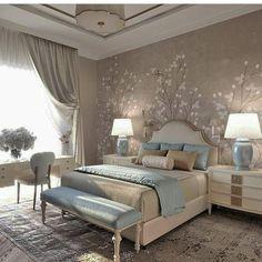 Bedroom Design: Turn Your Master Bedroom into a Relaxing Haven! Dream Bedroom, Home Bedroom, Modern Bedroom, Bedroom Decor, Wall Paper Bedroom, Bedroom Ideas, Peaceful Bedroom, Trendy Bedroom, Master Bedrooms