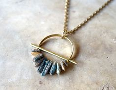 This item is unavailable - DRIFTER / Raw Kyanite & Brass Necklace Rough Stone Pendant - Brass Necklace, Brass Jewelry, Sea Glass Jewelry, Leather Jewelry, Crystal Jewelry, Custom Jewelry, Pendant Jewelry, Gemstone Jewelry, Jewelry Accessories