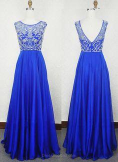 Long Prom Dresses, Low Back Prom Dress, Beaded Evening Dresses, Chiffon Party Dresses, Royal Blue Formal Dresses