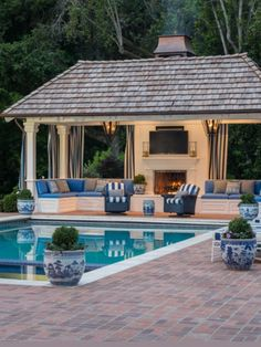 Stunning pool and outdoor pavilion with fireplace! - gartengestaltung 2019 - stunning pool and outdoor pavilion with fireplace! Backyard Pavilion, Outdoor Pavilion, Backyard Pool Landscaping, Backyard Patio Designs, Swimming Pools Backyard, Swimming Pool Designs, Landscaping Ideas, Pergola Ideas, Pergola Kits
