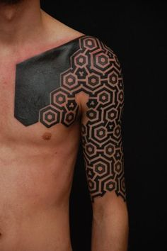 #black #shoulder #chest #tattoo